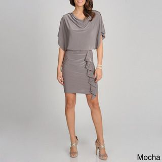 Richards Womens Blouson Drape Neck Dress