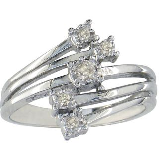 10k White Gold 1/10ct Round Prong set Diamond Ring (K,I2)