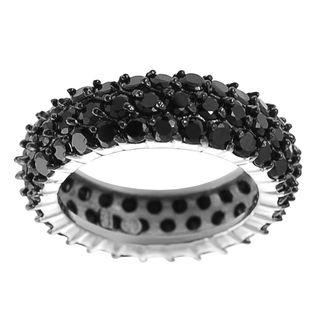 Tressa Sterling Silver Black Cubic Zirconia Eternity Ring