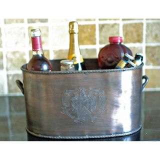 Duet Wine Bucket in Brass with Antique Copper Finish (India