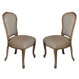 Casual Living Weathered Vintage French Upholstered Linen Dining Chairs