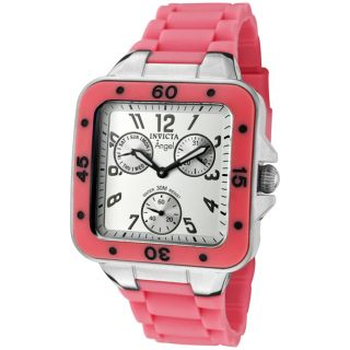 Invicta Womens Angel Light Silver Dial Neon Pink Rubber Watch