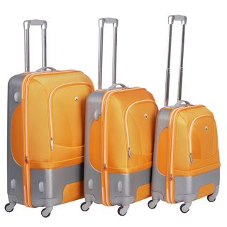 Olympia Majestic Hybrid Orange 3 piece Spinner Luggage Set