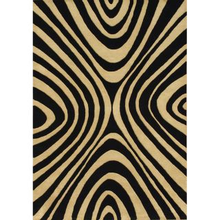 Handmade Black/ Tan Wool Rug (5 x 8)