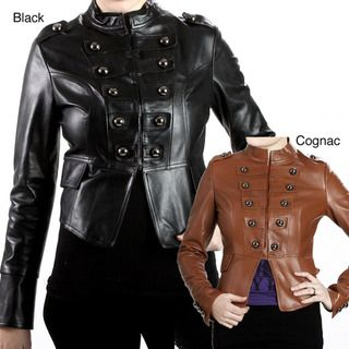 United Face Womens Lambskin Leather Snap front Military Jacket