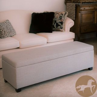 Christopher Knight Home Lucinda Taupe Fabric Storage Ottoman