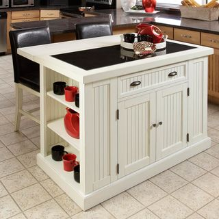 Nantucket Distressed White Finish Kitchen Island with Two Bar Stools