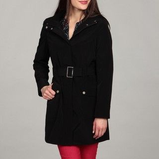 Calvin Klein Womens Black Belted Trench Coat