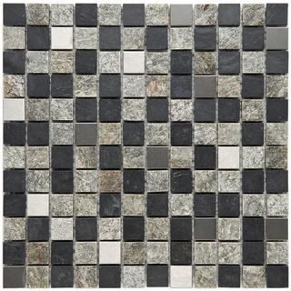 Somertile Granstone Alloy 1 inch Verde Stone and Metal Mosaic Tiles