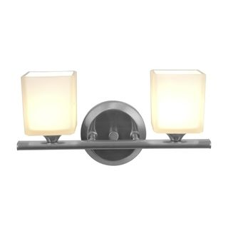 Access Hermes 2 light Brushed Steel Vanity Fixture