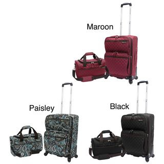 Traveler Quilted 2 piece Expandable Carry On Spinner Luggage Set