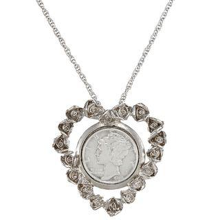 American Coin Treasures Silver Mercury Dime Rose Heart Pendant