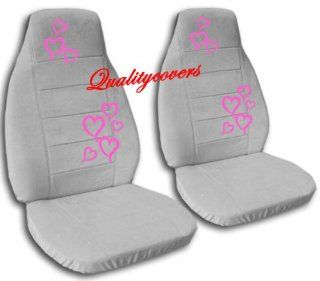 Complete set of Silver seat covers with Hot Pink Hearts for a Jeep