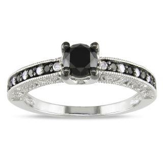 Miadora 10k White Gold 1ct TDW Black Diamond Ring