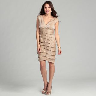 London Times Womens Shimmer Champagne Dress