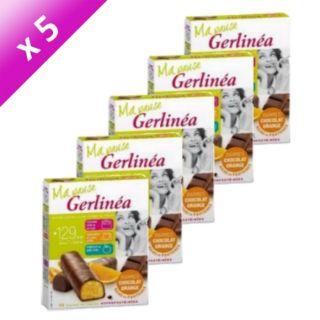 Pack de 5 boites GERLINEA Barres Chocolat Orange   129Kcal par barres