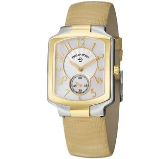 Philip Stein Womens Signature Tan Leather Strap Two Tone Watch