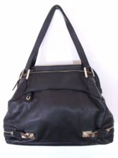 BESSO Black Leather Luxury Italian Tote Bag Handbag Purse