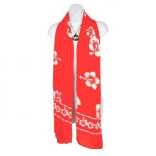 White Hibiscus Flower Design Scarf in Red Clothing