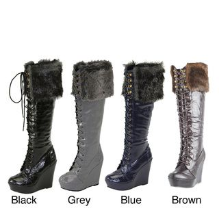 Comfort Womens Knee high Faux Fur Lace up Boots