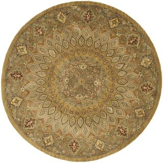 Handmade Heritage Medallion Light Brown/ Grey Wool Rug (6 Round