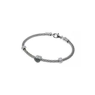 Lucien Piccard Womens Stainless Steel Cable Bracelet