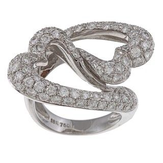 18k White Gold 3 1/2ct TDW Diamond Linked Hearts Estate Ring (H I, VS1