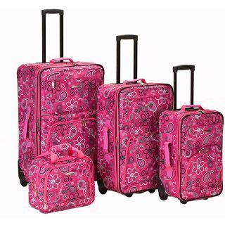 Rockland Designer Pink Bandana Expandable 4 piece Luggage Set
