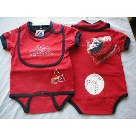 St. Louis Cardinals Baby Onesie, Bib and Booties   6 9