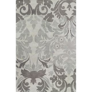 Hand tufted Grey/ Blue grey Wool Area Rug