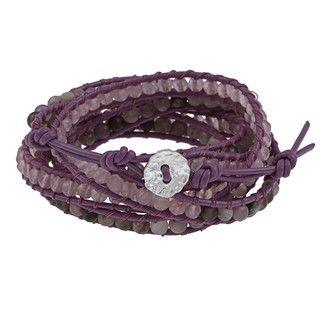 Purple Leather Simulated Quartz and Czech Crystal Wrap Bracelet