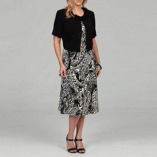 Jessica Howard Womens Plus Size Black/ Ivory Dress