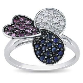 10k Gold Blue, Pink Sapphire and 1/8ct TDW Diamond Ring (H I, I2 I3