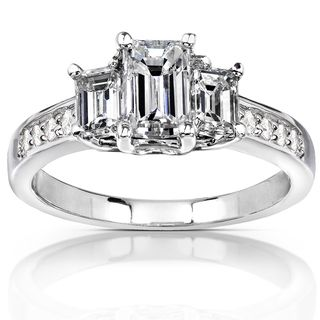 14k Gold 1 1/3 ct TDW Emerald cut Diamond Three Stone Engagement Ring