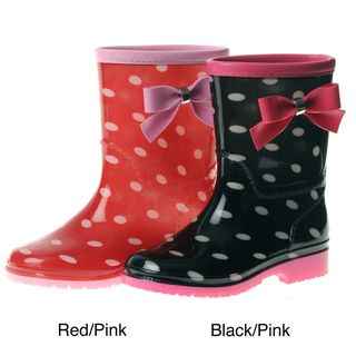 Henry Ferrera Girls Polka Dot Bow Detail Rain Boots