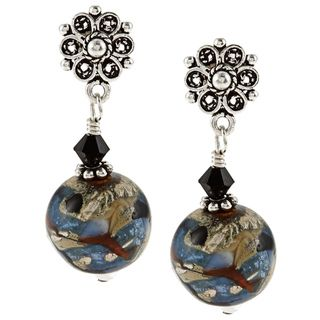 Charming Life Sterling Silver Winters Night Art Glass Earrings