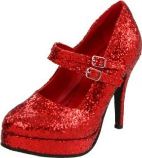 High Heel Shoes 4 Inch Shoe Red Ruby Slippers Glitter Mary Jane Shoe