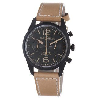 Bell & Ross Mens BR126 HERITAGE Vintage Black Chronograph Dial and
