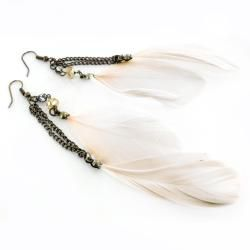 Goldtone Feather and Crystal Drop Earrings