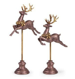Set of 2 Glitter Drenched Bronze Reindeer Table Top