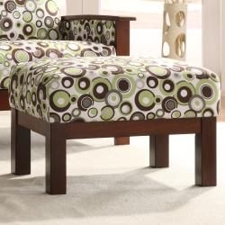 Hills White/ Moss/ Brown Bubble Print Chair with Ottoman
