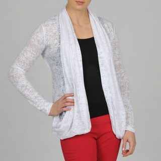 Grace Elements Womens White Cotton Knit Cardigan