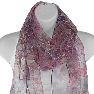Hand spun Silk Embroidered Shimmery Flowers Pink Scarf (India