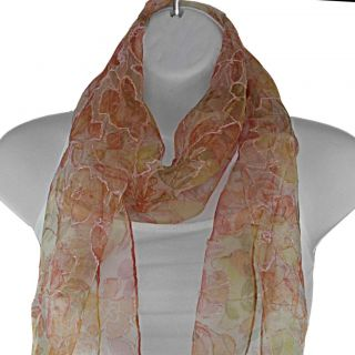 Hand spun Silk Embroidered Orange Flowers Scarf (India)