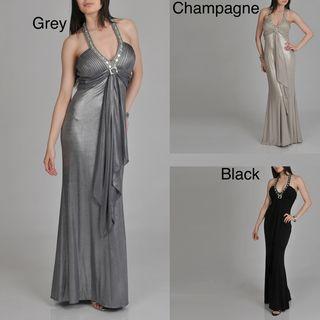 Janine of London Womens Halter Rhinestone Detail Long Dress