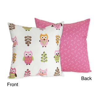 Sweet JoJo Designs Happy Owl Pink Reversible 16 inch Decorative