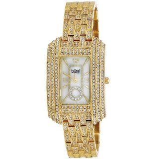 Burgi Womens Rectangular Crystal Quartz Bracelet Watch