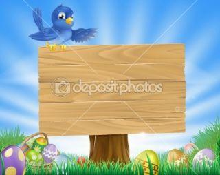 Bluebird Easter cartoon background  Stock Vector © Christos