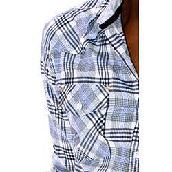 191 Unlimited Mens Blue Large Plaid Woven Shirt