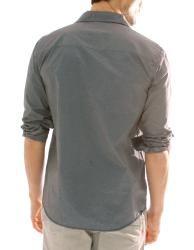 191 Unlimited Mens Dark Grey Stripe Button Front Shirt